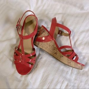 Marc Fisher coral patent leather wedge sandals